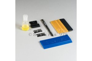 Tool kit for flat glass window film installation